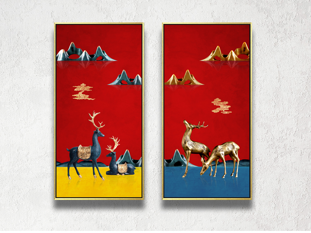 新中式祥云麋鹿金山装饰画无框画图片