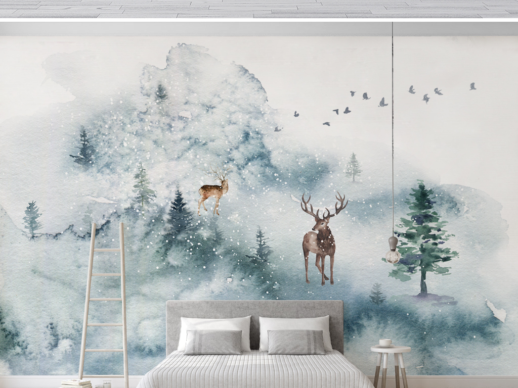 小清新极简北欧风格手绘麋鹿森林背景墙壁纸