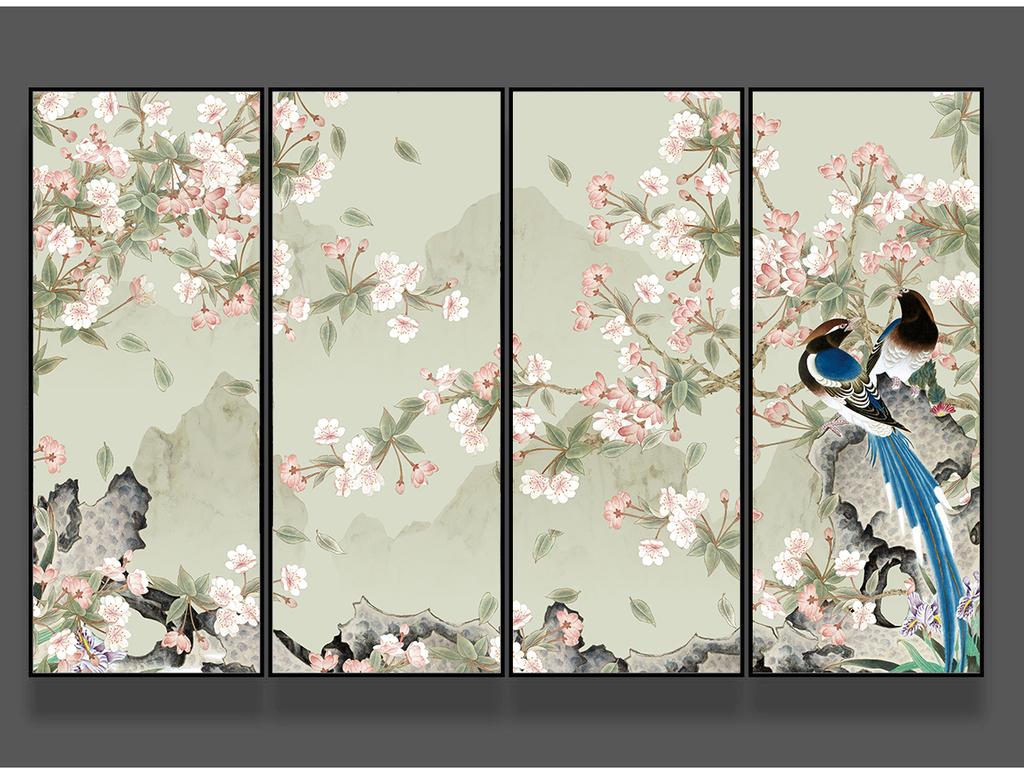 海棠花新中式手绘工笔花鸟背景墙装饰画