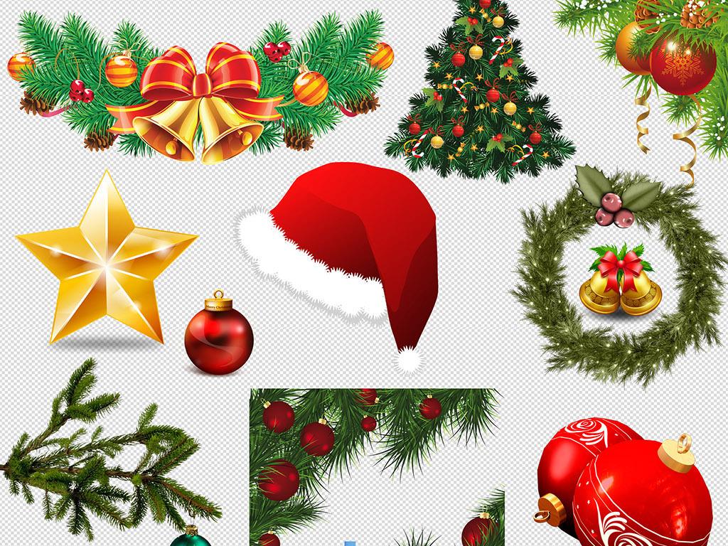 圣诞节挂饰球帽子圣诞树装饰元素png素材图片下载png素材 圣诞节图片