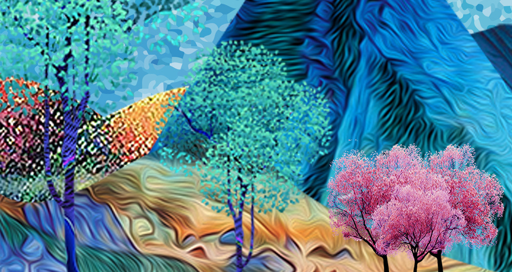 小清新极简北欧风格手绘麋鹿森林床头挂画壁纸素材