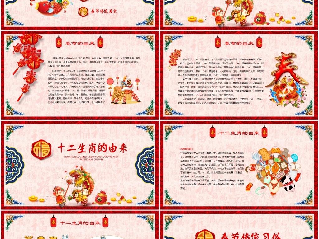 新年春节习俗传统文化民俗中国年PPT模板