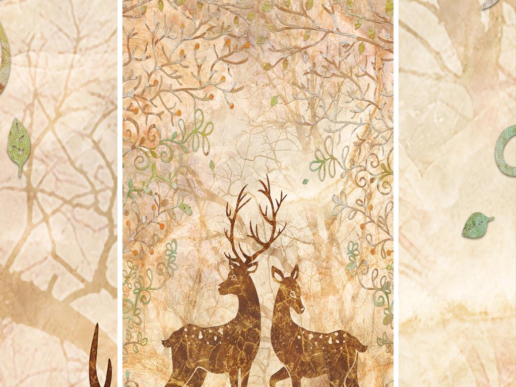 现代简约欧式花纹麋鹿玄关背景墙