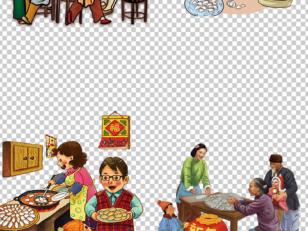 设计元素 其他 其他 > 手绘古代人物老北京火锅图片素材  手绘古代