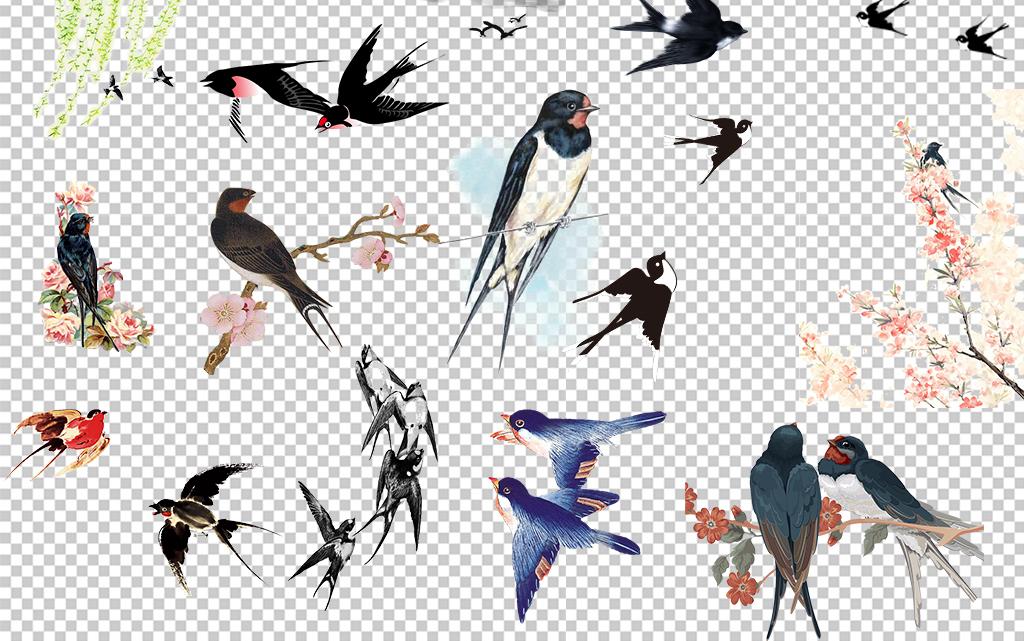 中国风水墨手绘春天燕子png素材