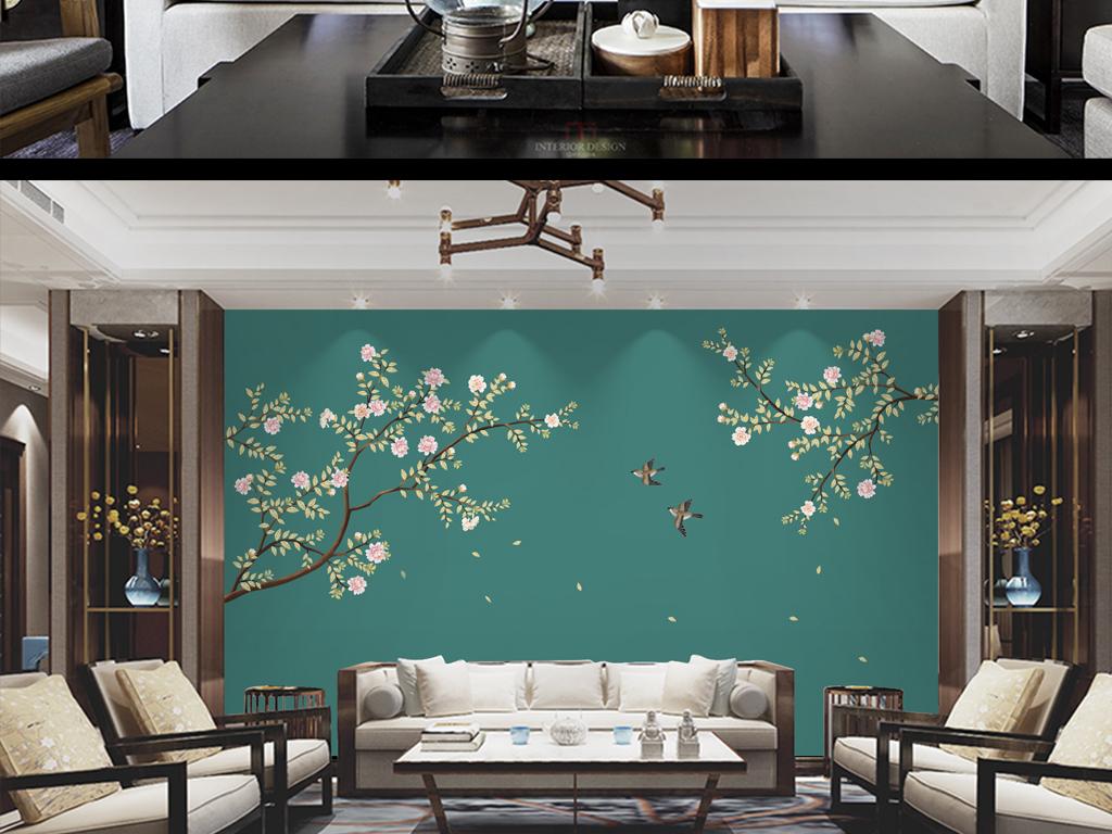 新中式手绘牡丹花鸟电视沙发背景墙装饰画