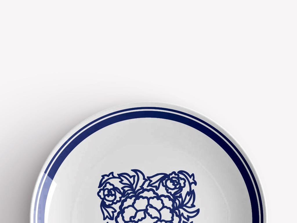 传统玫瑰青花瓷圆盘