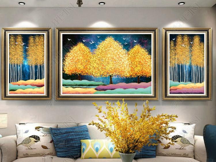 现代简约欧式复古风景山水抽象客厅装饰画