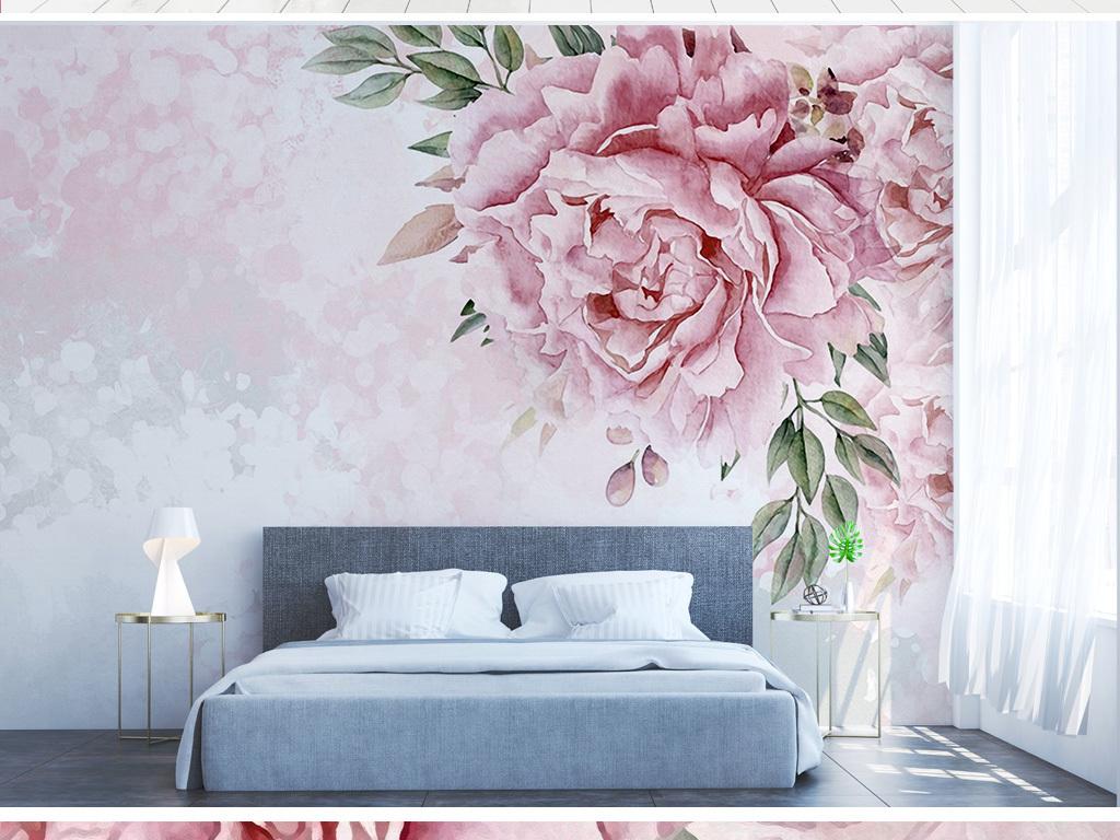 美式手绘花朵现代简约电视背景墙装饰画
