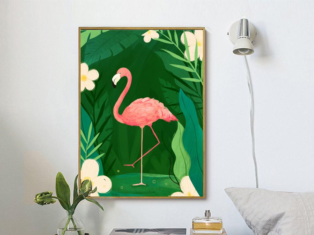 背景墙|装饰画 无框画 动物图案无框画 > 北欧手绘雨林芭蕉叶火烈鸟