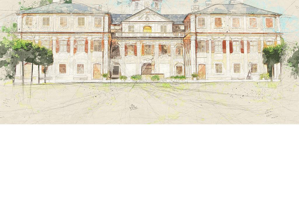 手绘复古素描德国城堡图纸背景墙
