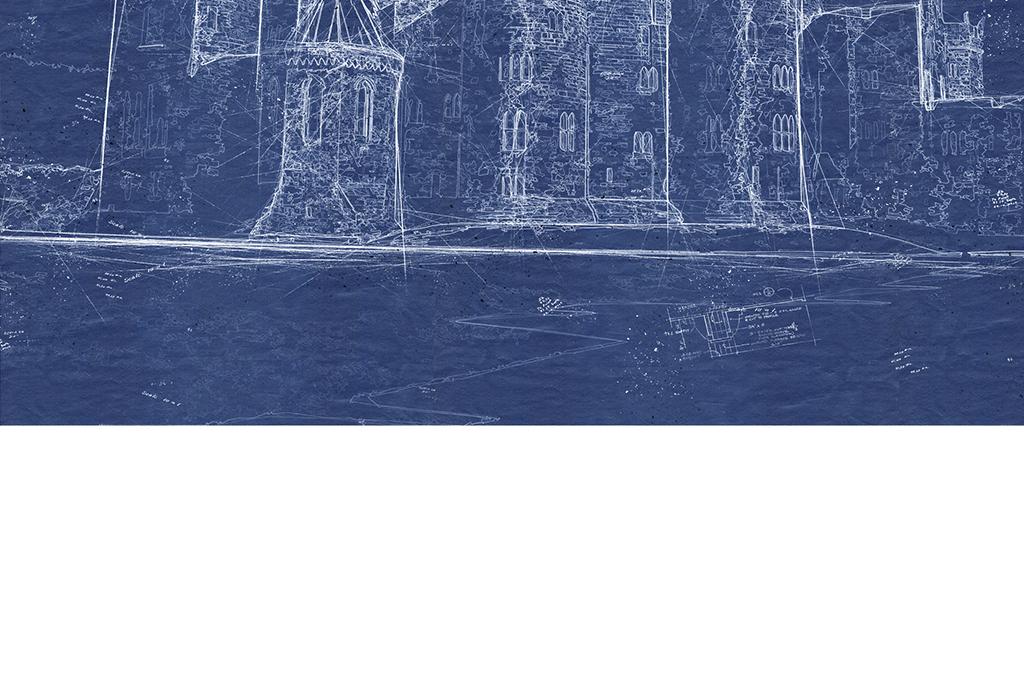 欧式素描城堡线稿背景墙