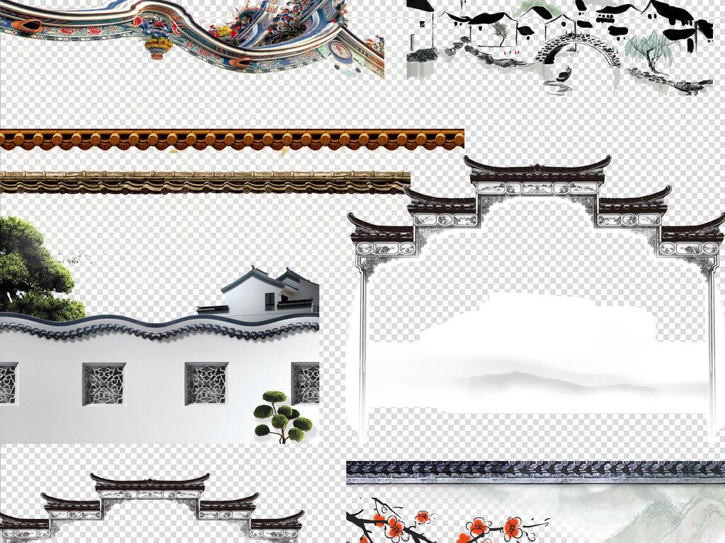 中国风古典屋檐建筑屋顶古代瓦房背景png