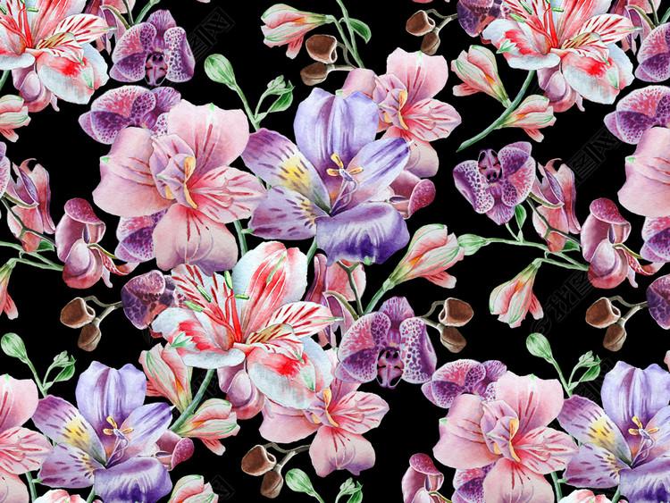 紫色大花无缝数码印花