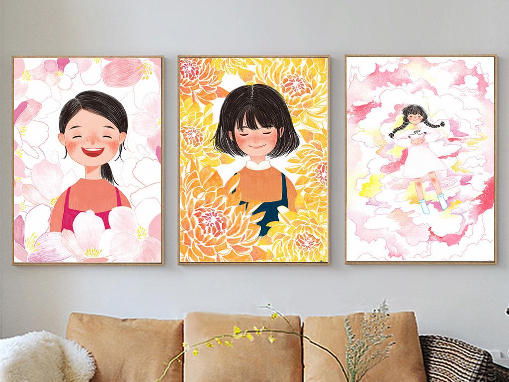 现代简约手绘繁花丛中微笑女孩三联无框画