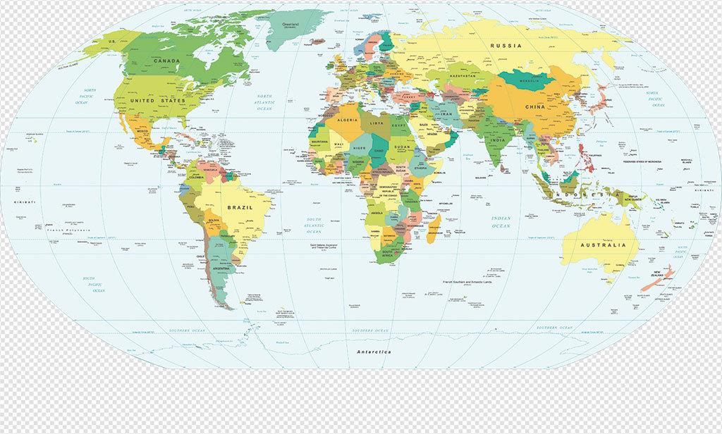 彩色高清世界地图AI矢量元素世界地图PPT元素 9