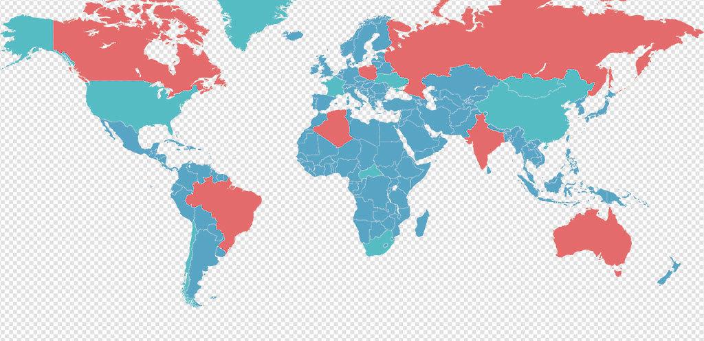 彩色高清世界地图AI矢量元素世界地图PPT元素 26
