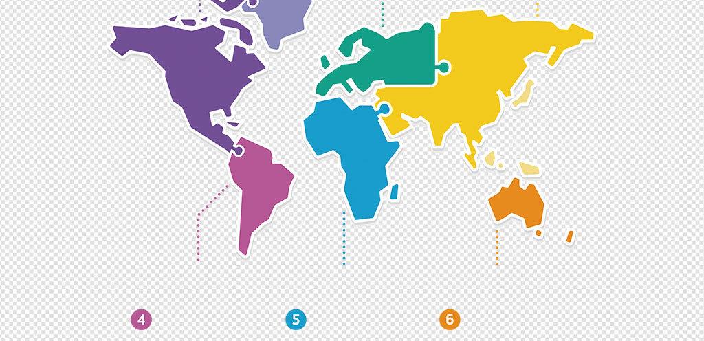 彩色高清世界地图PNG元素世界地图PPT元素 21