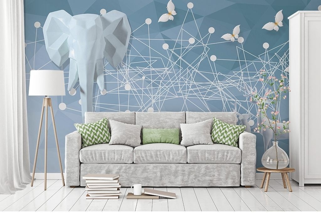 背景墙 电视背景墙 现代简约电视背景墙 > 北欧几何形浮雕麋鹿大象