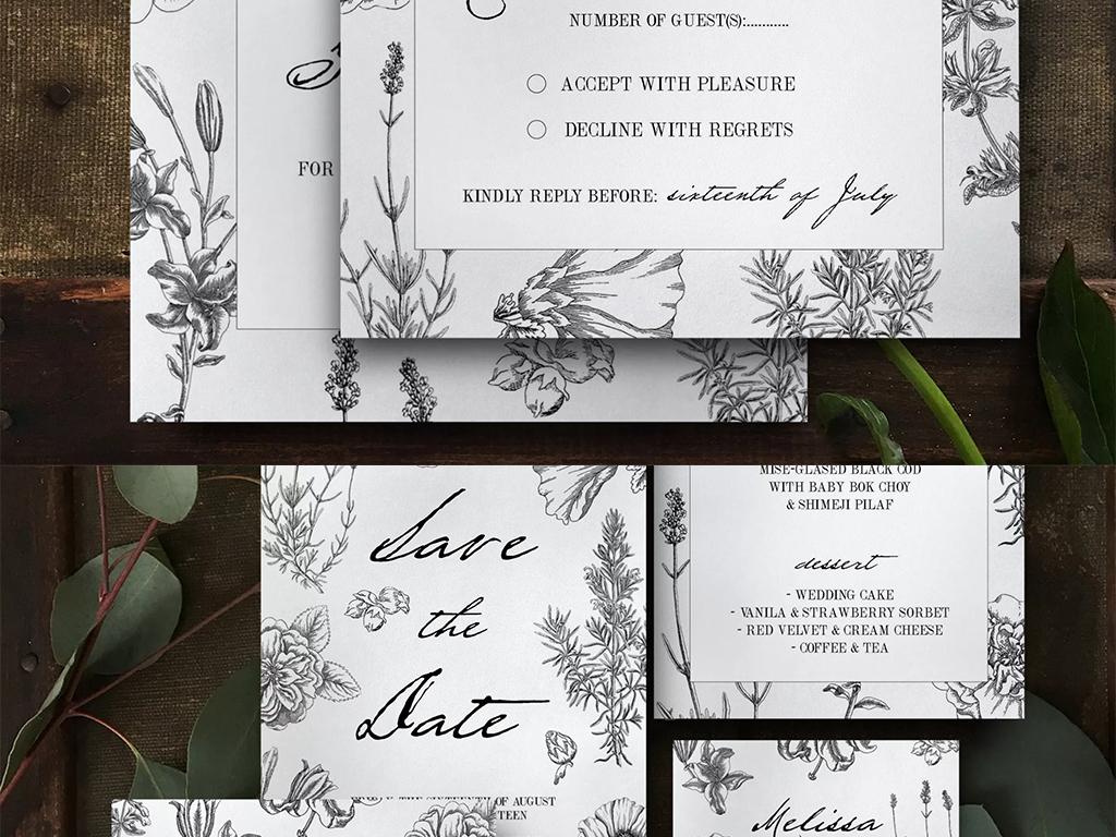 黑色手绘鲜花风格节日贺卡邀请函设计模板