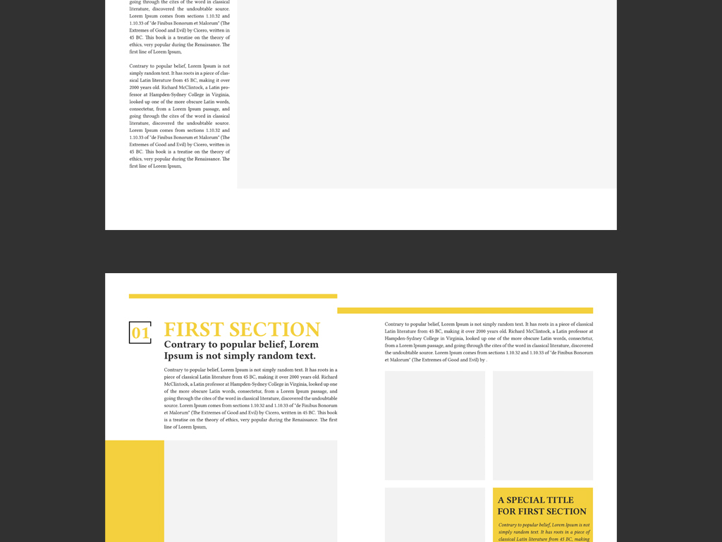 黄色背景简约物流公司简介画册设计模板