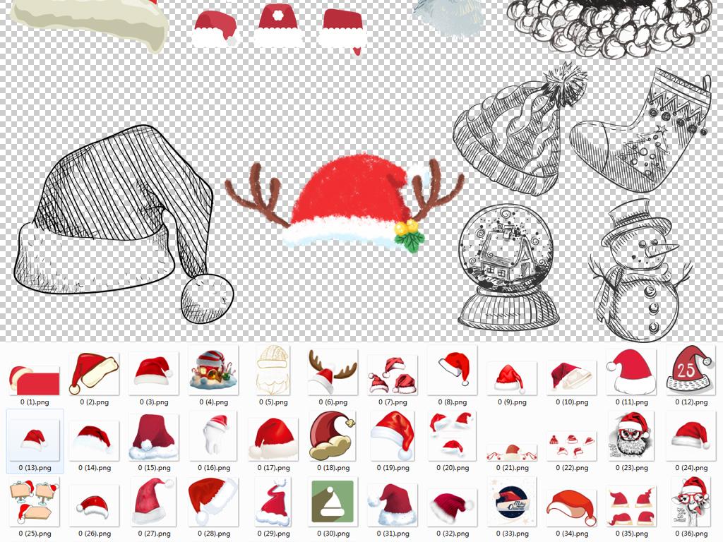圣诞老人圣诞帽装饰挂饰PNG格式透明背景素材图片