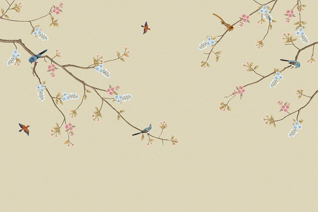 新中式玉兰花开富贵手绘梅花工笔花鸟背景墙