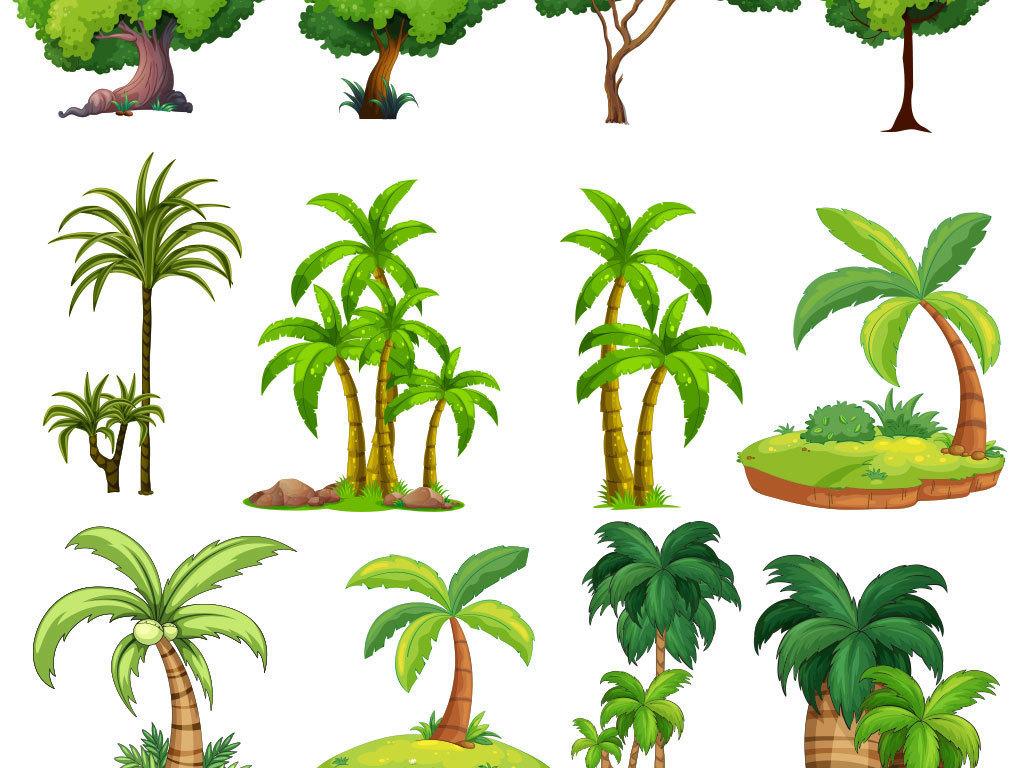 手绘卡通树素材大树树木植物设计矢量图图片