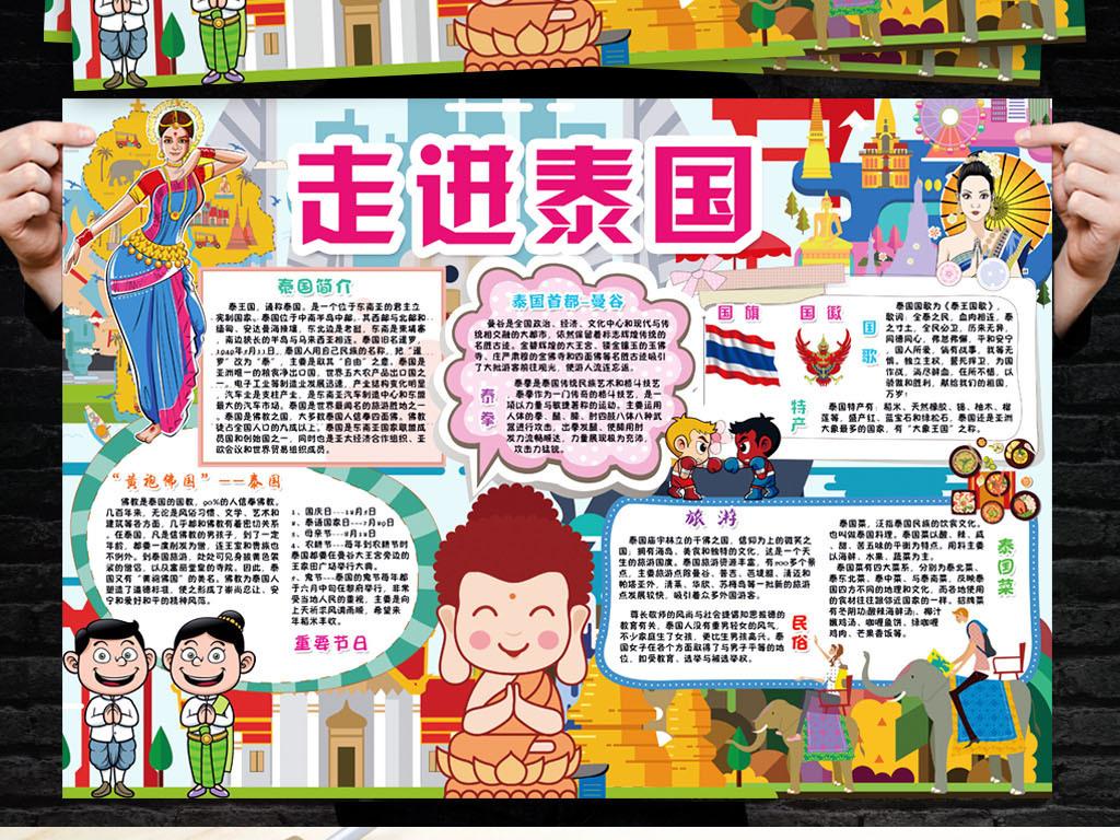 泰国小报城市地理东南亚风情旅游手抄小报素材图片 psd模板下载 97.