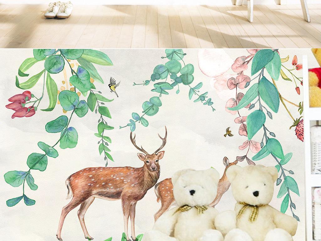 北欧手绘小清新树叶麋鹿电视背景墙
