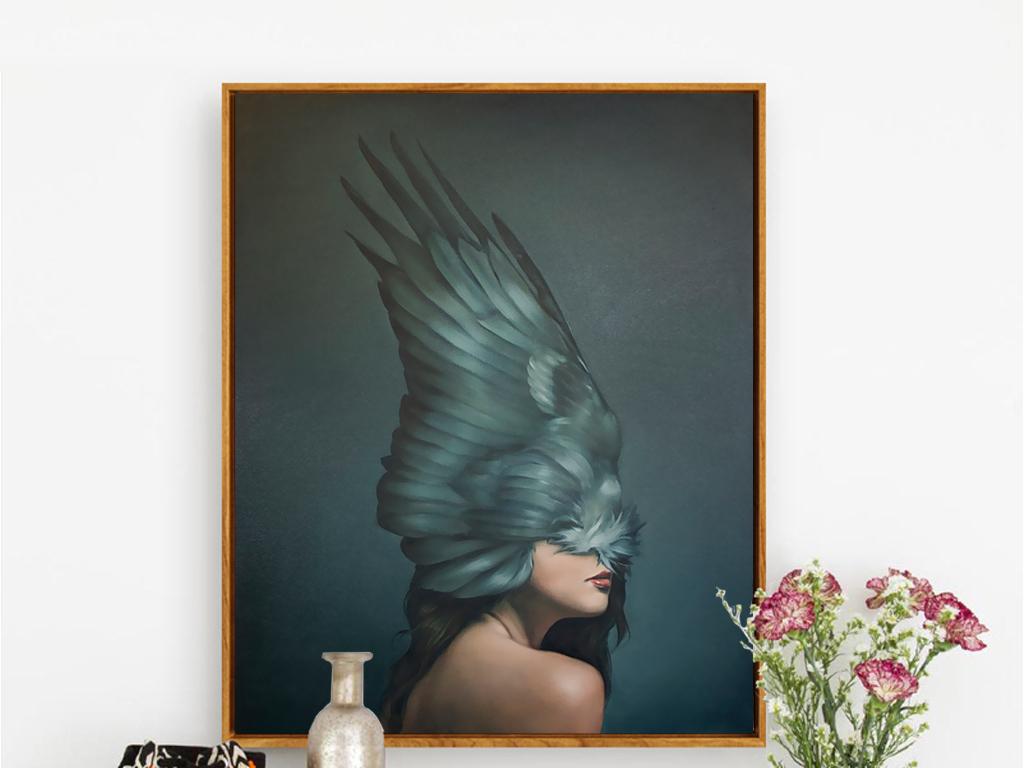 现代手绘艺术油画黑色翅膀面具无框画装饰画