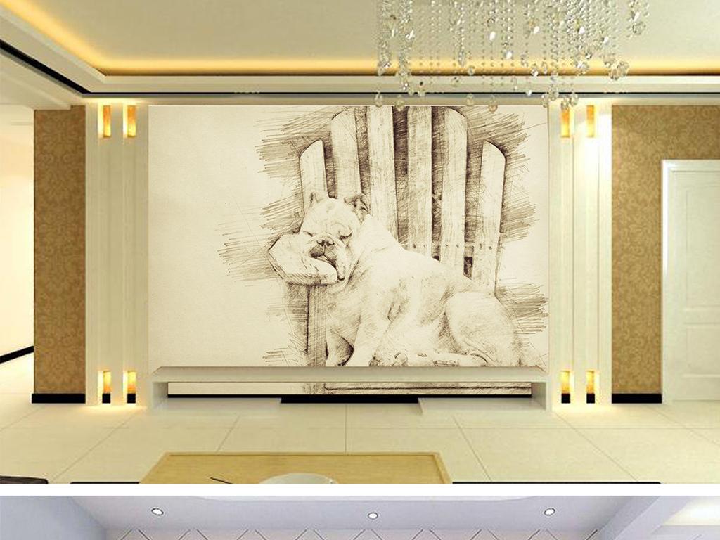 北欧创意素描斗牛犬童房背景墙