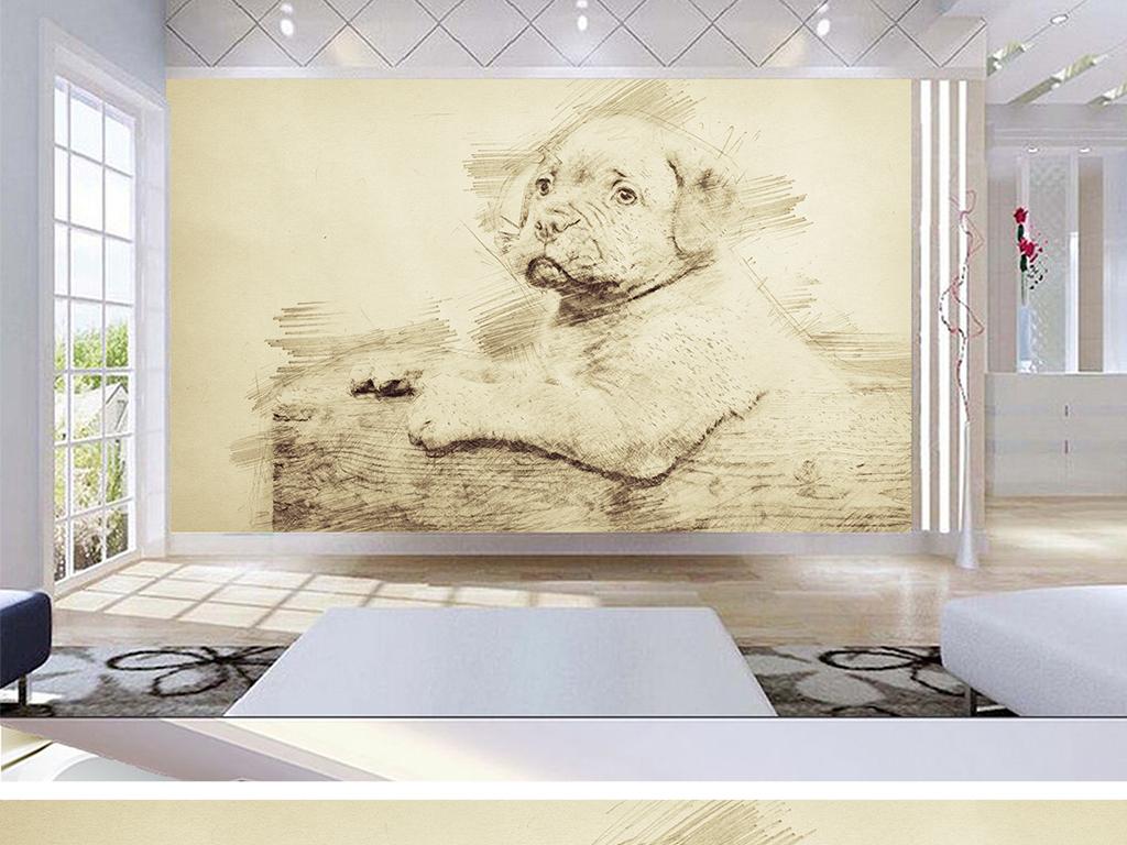 北欧创意素描小狗儿童房背景墙