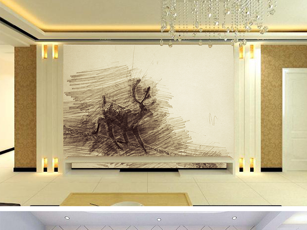 北欧创意素描麋鹿儿童房背景墙