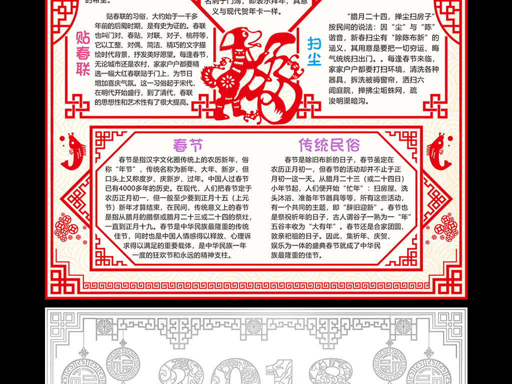 新春快乐小报元旦手抄报狗年春节电子小报