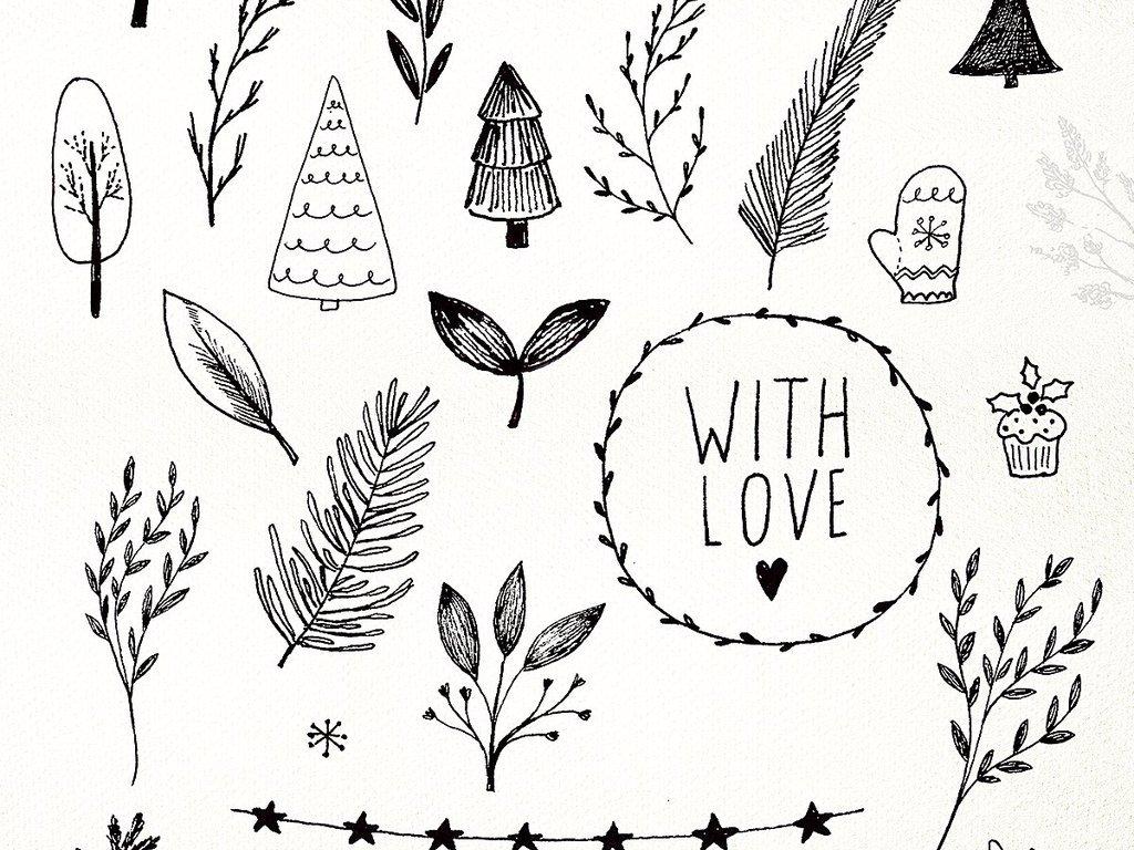 可爱卡通淡彩手绘圣诞节图案花环设计元素