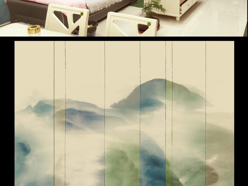 新中式水墨画山水画背景墙壁画壁纸图片设计素材 高清模板下载 10.35MB 中式电视背景墙大全图片