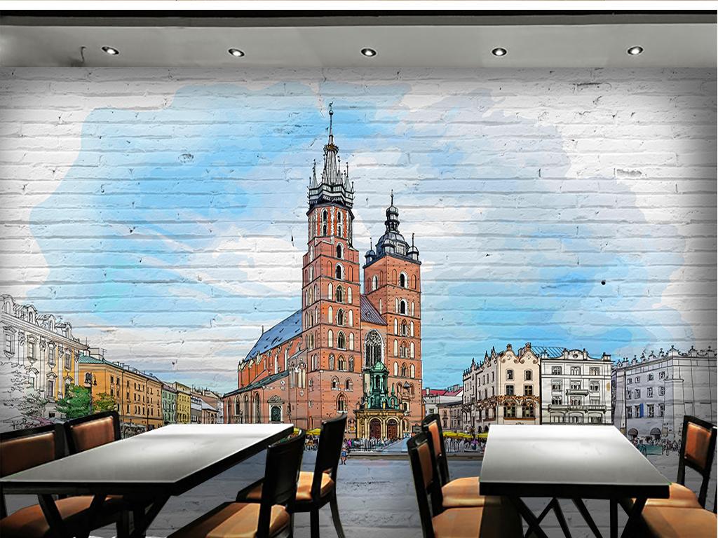 欧洲城市手绘素描背景墙图片设计素材_高清psd模板(.