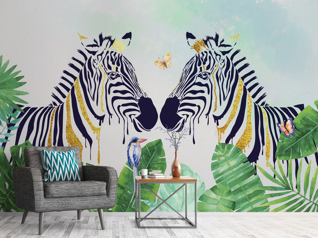北欧手绘热带植物斑马背景墙壁纸壁画