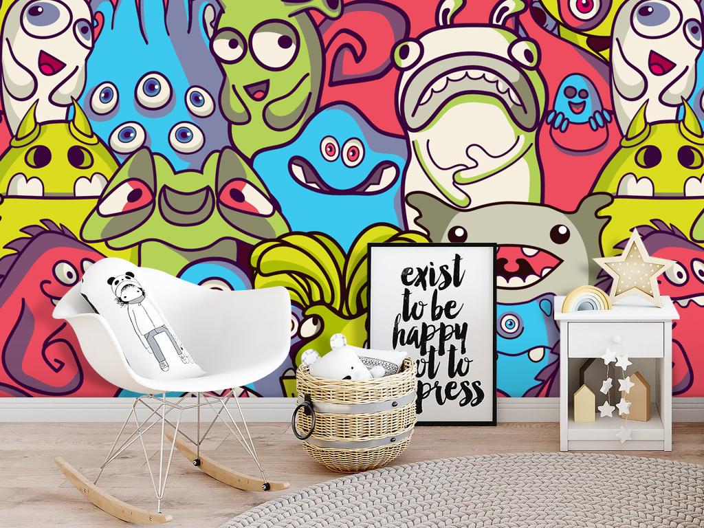 手绘怪物公司童话卡通怪兽儿童房壁画背景墙