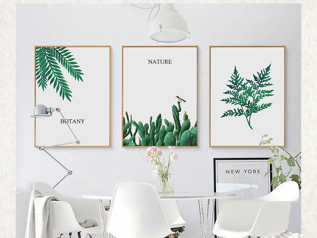 清新手绘北欧风仙人掌挂画植物叶子无框画