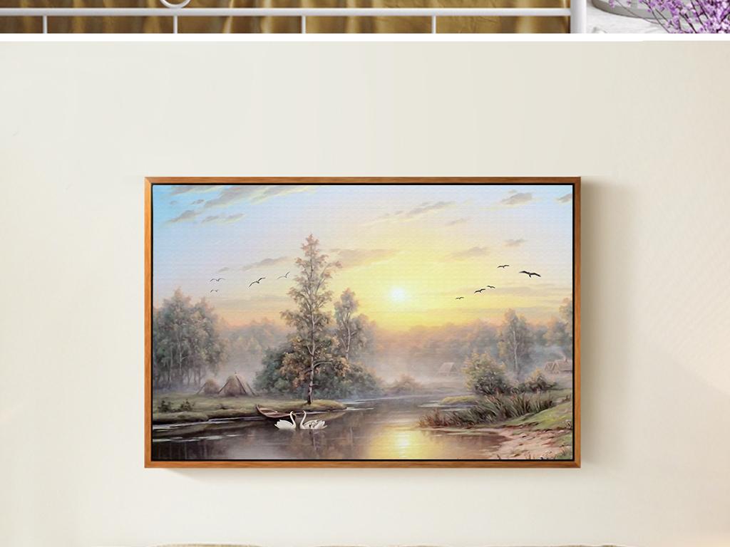 现代北欧简约夕阳桥风景手绘二联沙发装饰画