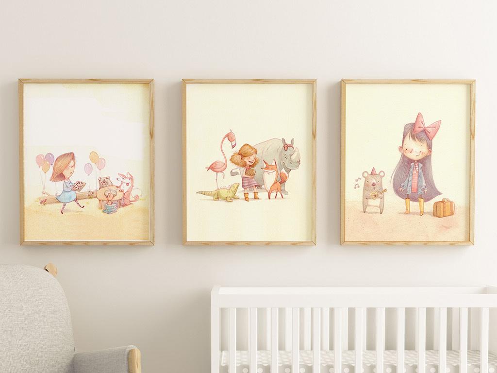 北欧小清新手绘儿童故事儿童房三联装饰画