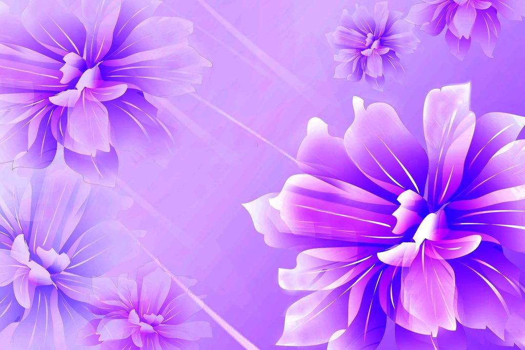 手绘花朵太阳蝴蝶兰花梦幻紫色三维立体电视背景墙