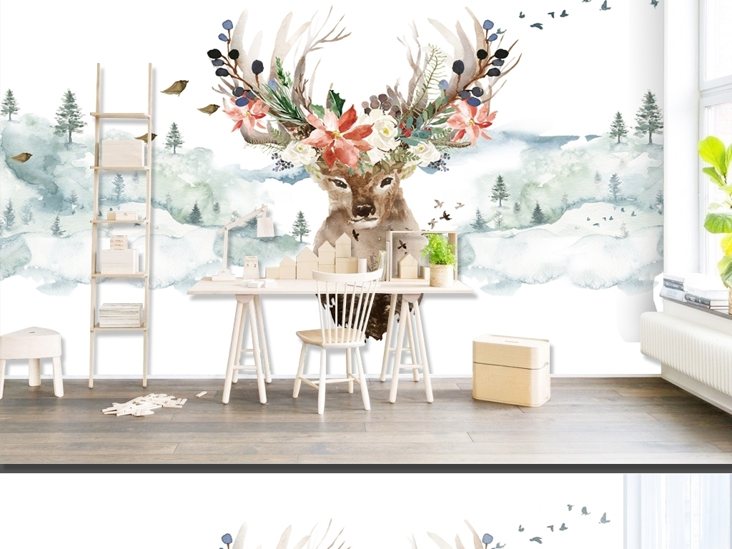 > 简约北欧风格手绘抽象麋鹿鹿头鹿角背景墙  素材图片参数: 编号