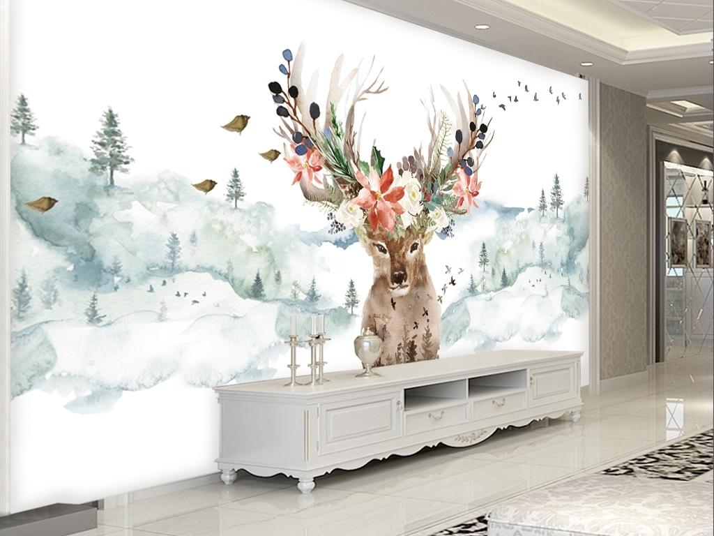 简约北欧风格手绘抽象麋鹿鹿头鹿角背景墙