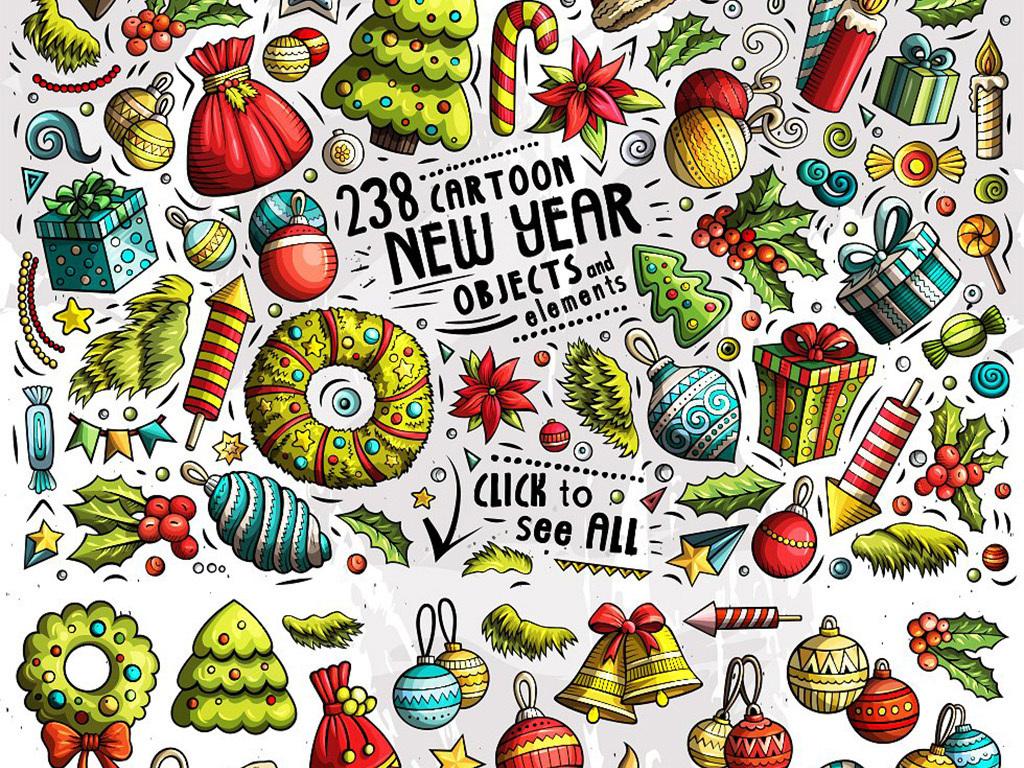 涂鸦手绘新年圣诞节日通用矢量背景元素图片素材_模板