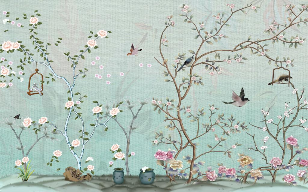 中式手绘绿底花鸟图