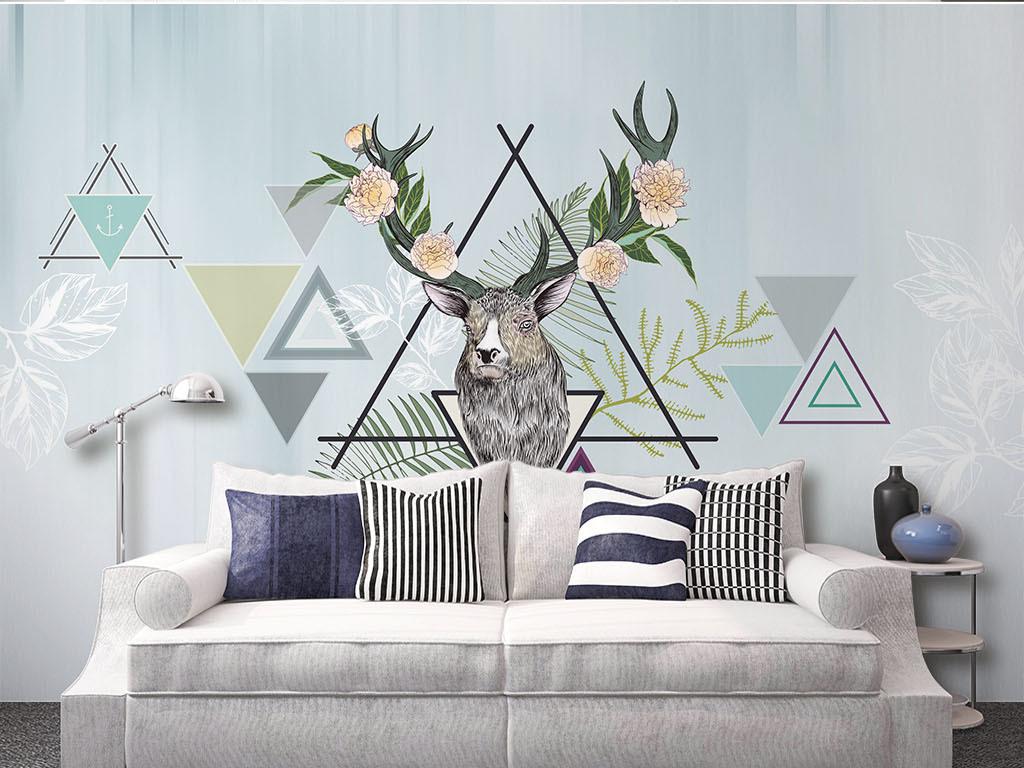 北欧现代简约鹿头抽象几何沙发电视背景墙图片