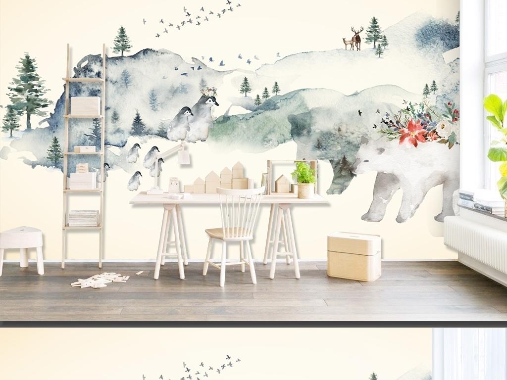 简约北欧风格手绘抽象水彩动物森林背景墙